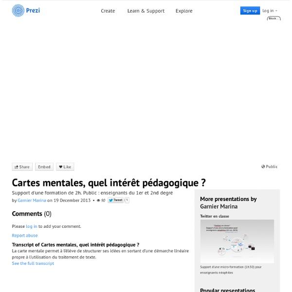 Cartes mentales, quel intérêt pédagogique ? by Garnier Marina on Prezi