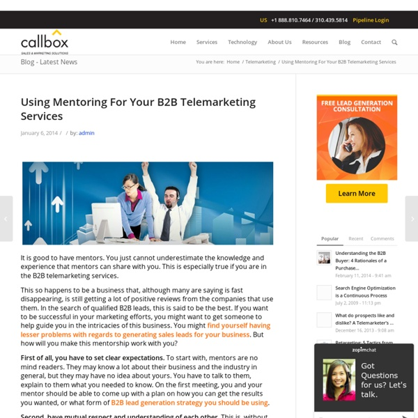 Using Mentoring For Your B2B Telemarketing ServicesB2B Lead Generation, Appointment Setting, Telemarketing