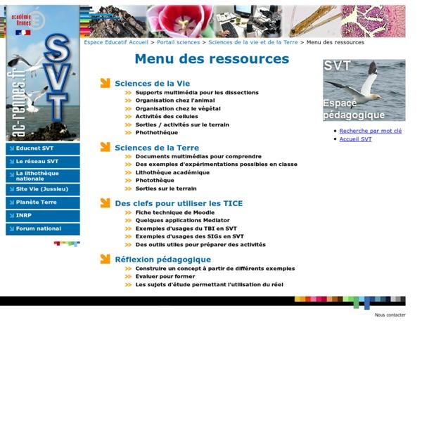 Menu des ressources de SVT-Rennes