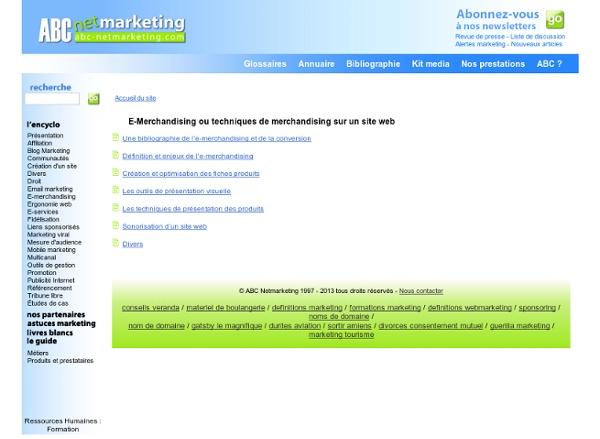 E-Merchandising ou techniques de merchandising sur un site web