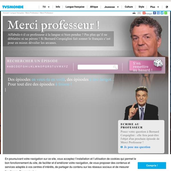 """Vidéo - Emission """"Merci Professeur"""" (Bernard Cerquiglini)"""