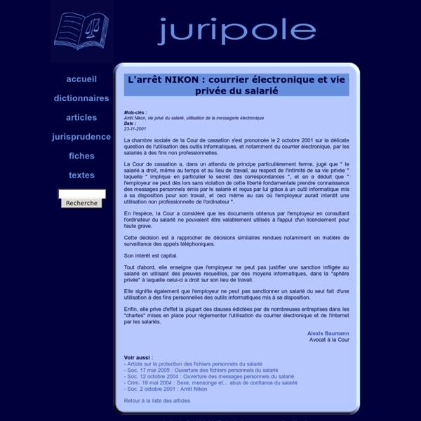 L'arrêt NIKON : messagerie électronique et vie privée du salarié