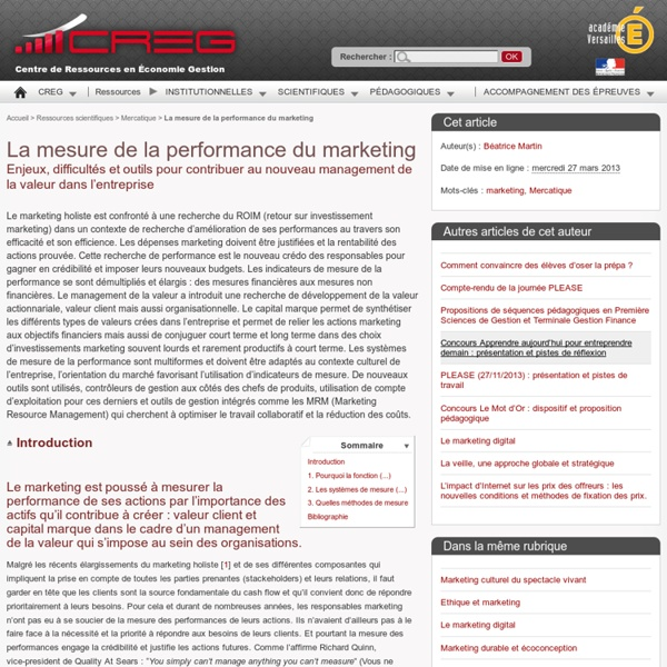 La mesure de la performance du marketing