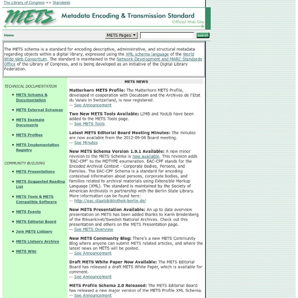 Metadata Encoding and Transmission Standard (METS) Official Web Site