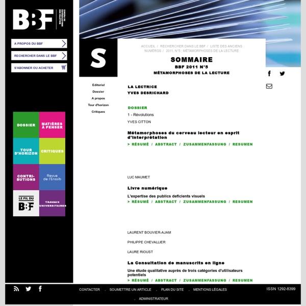 2011-5 : Métamorphoses de la lecture : Sommaire