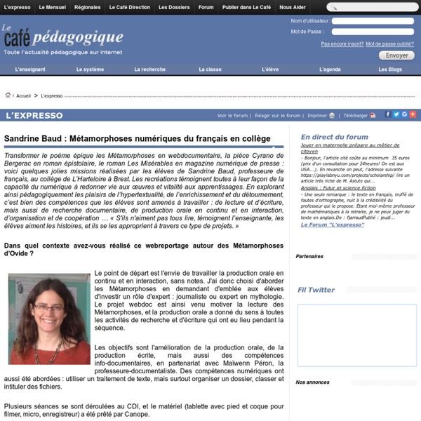 Sandrine Baud : Métamorphoses numériques du français en collège