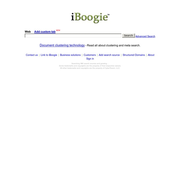 iBoogie - MetaSearch Document Clustering Engine and Personalized Search Engines Directory