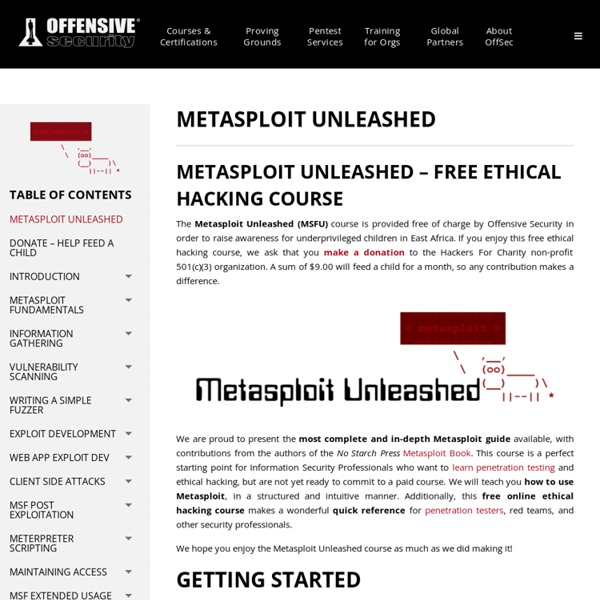 Metasploit Unleashed By Offensive Security
