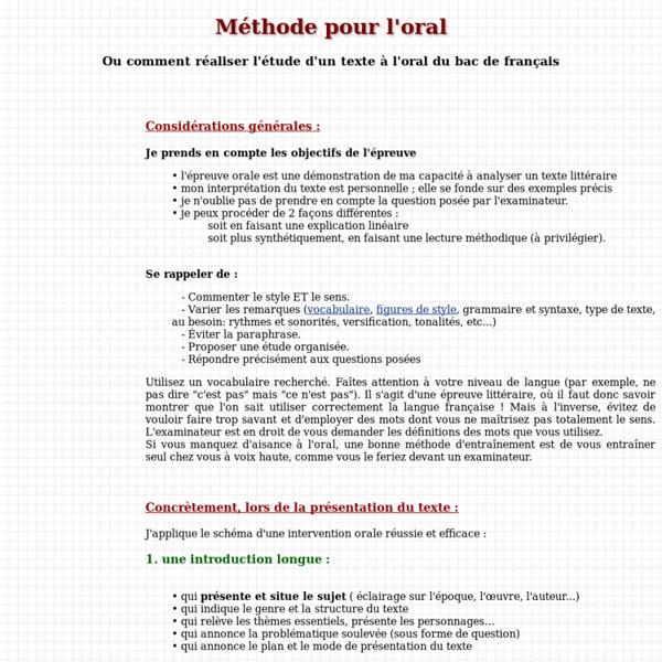 Méthode pour l'oral du bac de français
