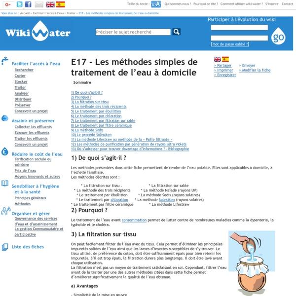 E17 - Les méthodes simples de traitement de l'eau à domicile