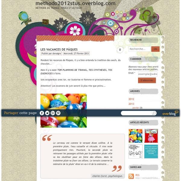 Methodo2012stus.overblog.com - méthode de travail :trucs et astuces