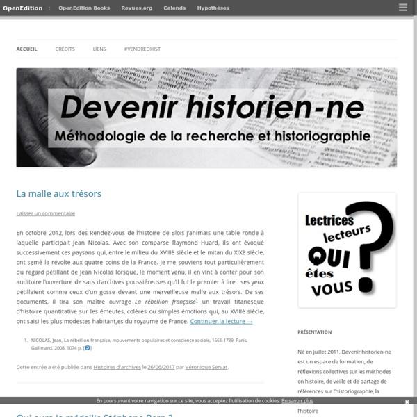 Méthodologie et historiographie en Master recherche histoire