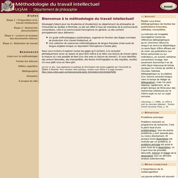 Méthodologie du travail intellectuel