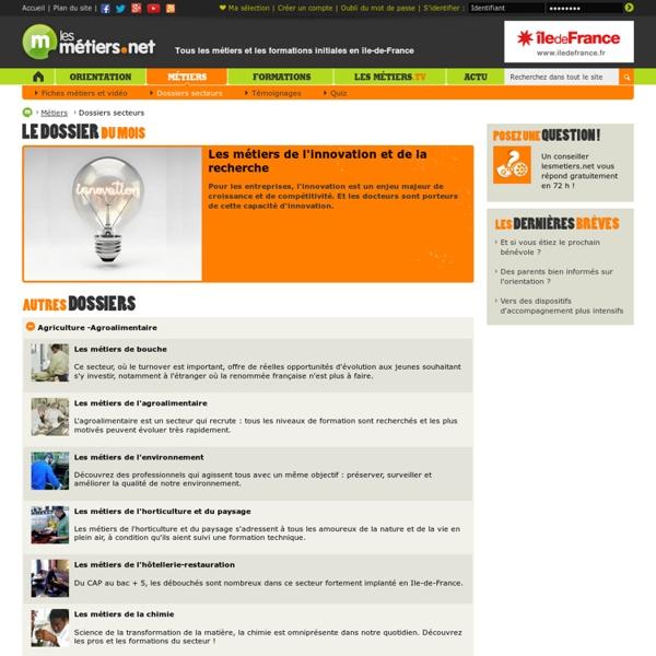 Dossiers métiers par secteurs - Les metiers.net