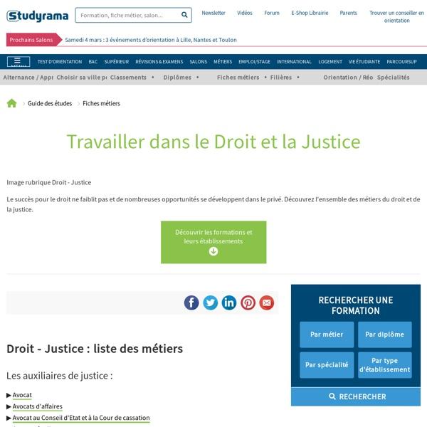 Fiches Métiers : Droit - Justice - Studyrama.com
