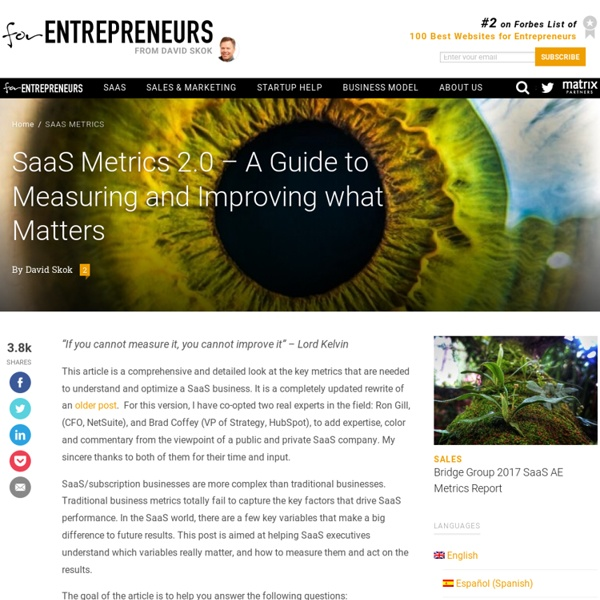 SaaS Metrics 2.0 – A Guide to Measuring and Improving what Matters
