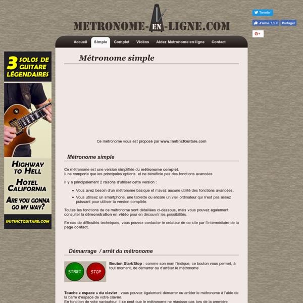 Metronome-en-ligne.com - Un métronome interactif et gratuit sur Internet