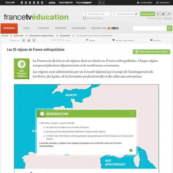 Puzzle : Les 22 régions de France métropolitaine
