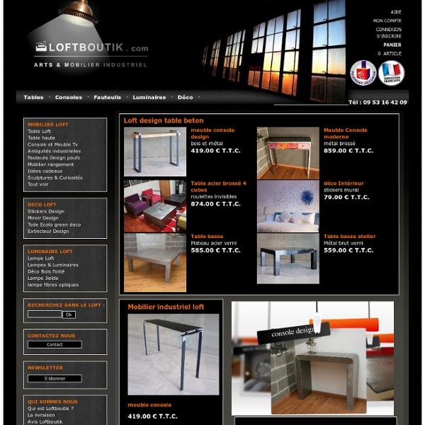 Loftboutik : table basse métal design loft et béton ciré