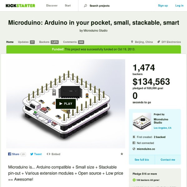 Microduino: Arduino in your pocket, small, stackable, smart by Microduino Studio