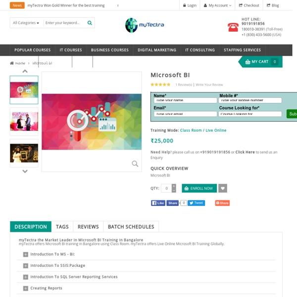 Microsoft BI Training in Bangalore Classroom, Online