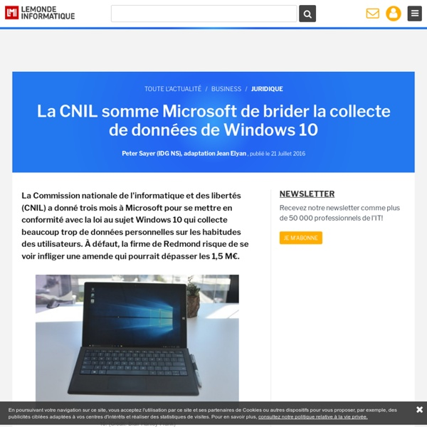 La CNIL somme Microsoft de brider la collecte de données de Windows 10