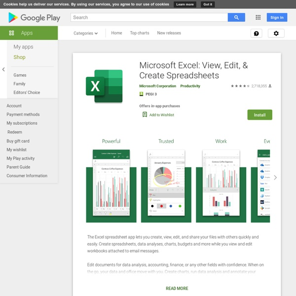 Microsoft Excel: View, Edit, & Create Spreadsheets - Apps on Google Play