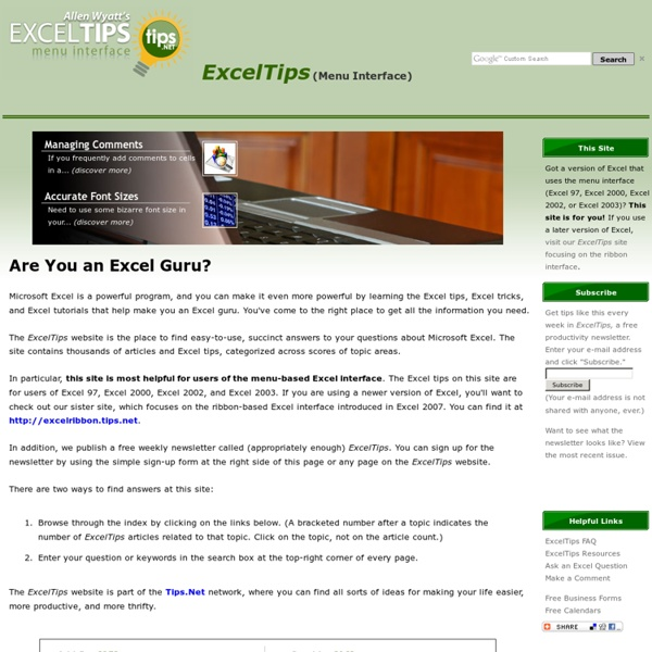 Microsoft Excel Tips - Excel.Tips.Net