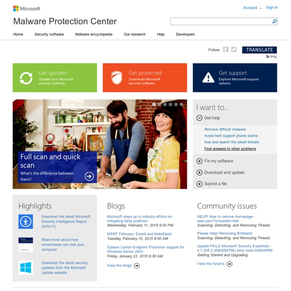Malware Protection Center Home Page