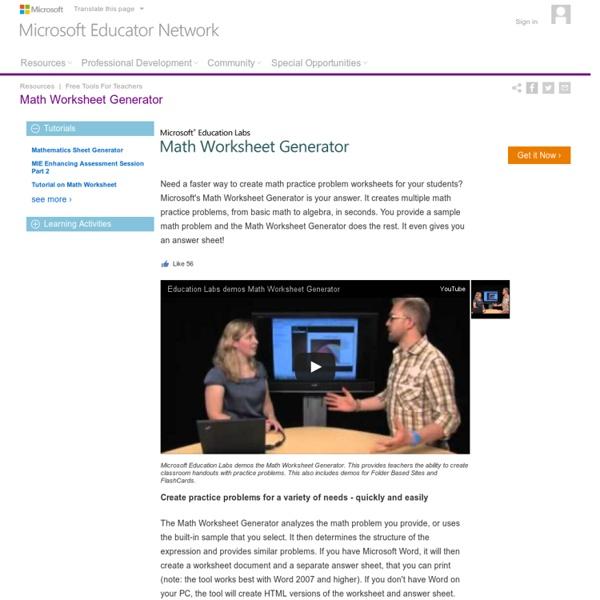 Microsoft Educator Network - Resources : Free Tools For Teachers : Math Worksheet Generator