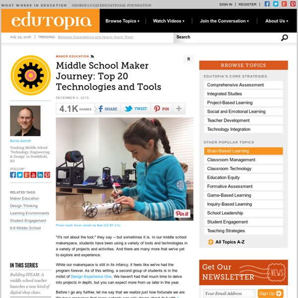 Middle School Maker Journey: Top 20 Technologies and Tools