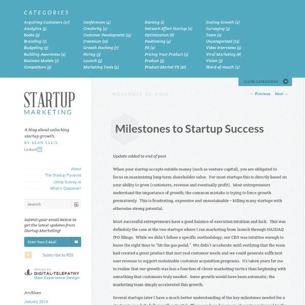Milestones to Startup Success