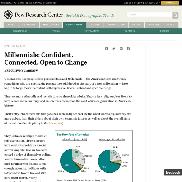 Millennials: Confident. Connected. Open to Change. - Pew Social & Demographic Trends