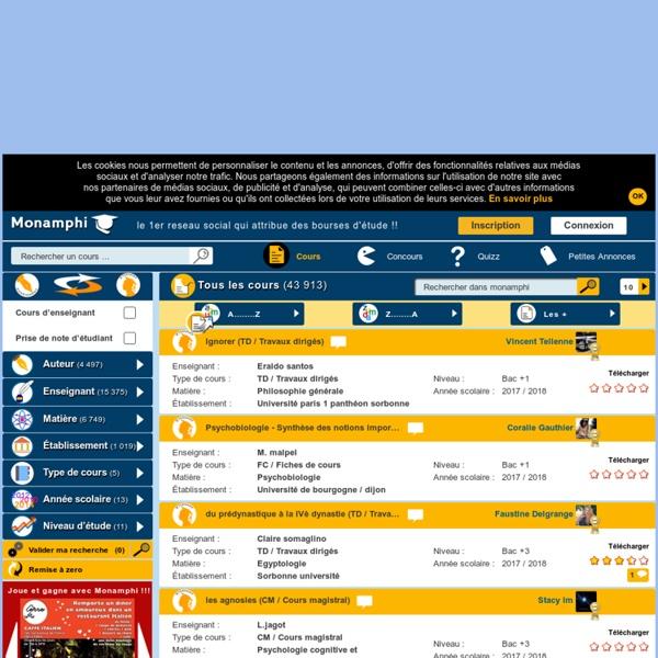 Des milliers de cours à télécharger sur Monamphi.com