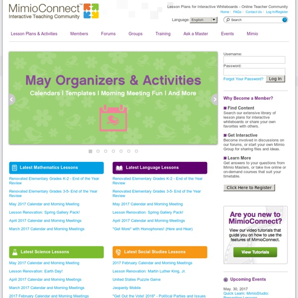 MimioConnect - Lesson Plans for Interactive Whiteboards - Online Teacher Community