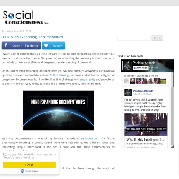 Social Consciousness: 300+ Mind Expanding Documentaries
