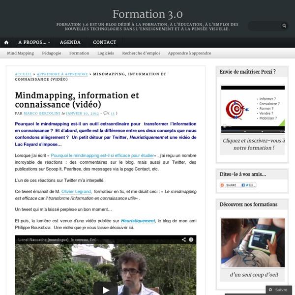 Mindmapping, information et connaissance (vidéo)
