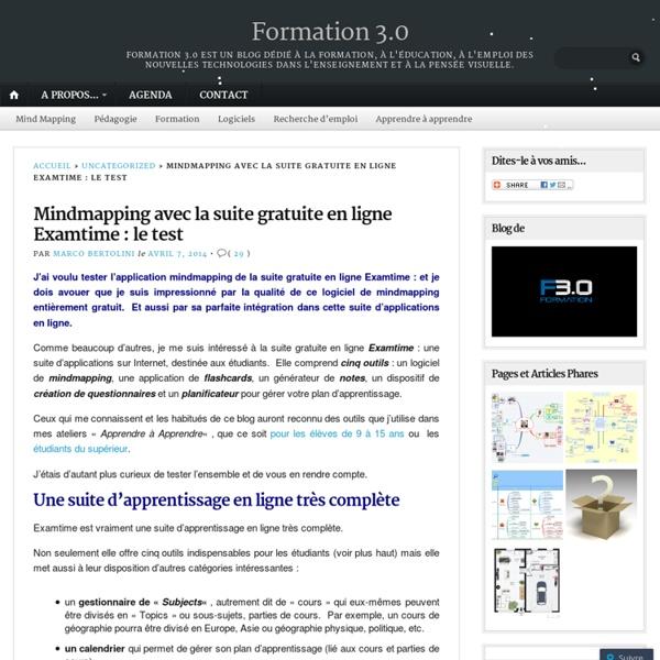 Mindmapping avec la suite gratuite en ligne Examtime : le test