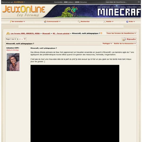 Minecraft, outil pédagogique ? - Minecraft