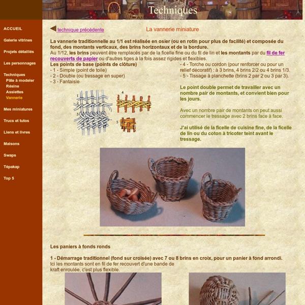 Miniatures et maisons de poupees : technique de la vannerie