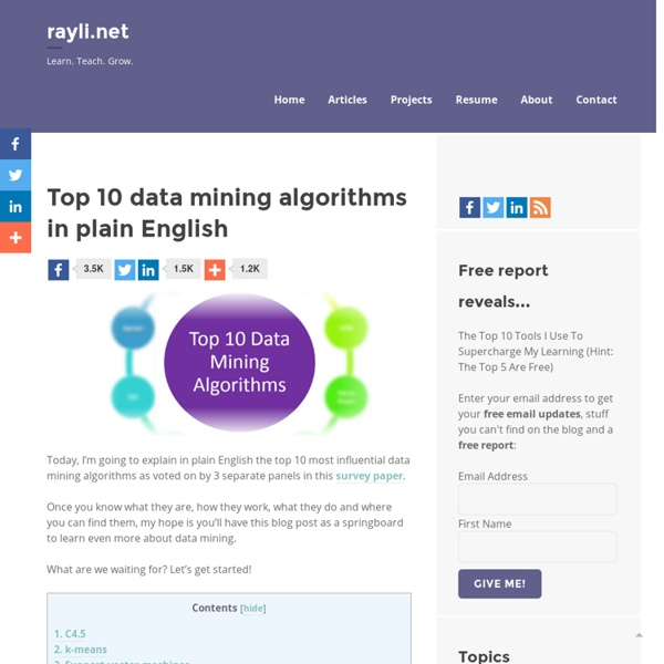 Top 10 data mining algorithms in plain English