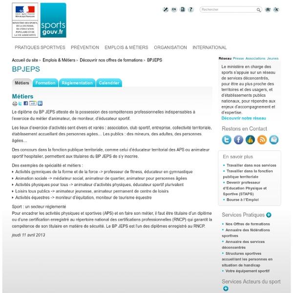 Le BPJEPS sur le site ministériel