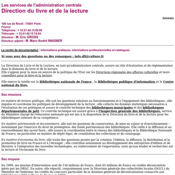 Ministère de la culture et de la communication : Direction du livre et de la lecture