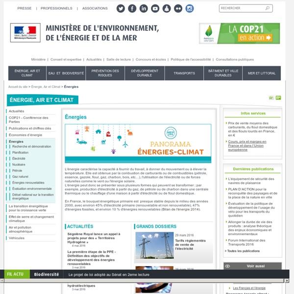 Énergies - Ministère de l'Environnement, de l'Energie et de la Mer
