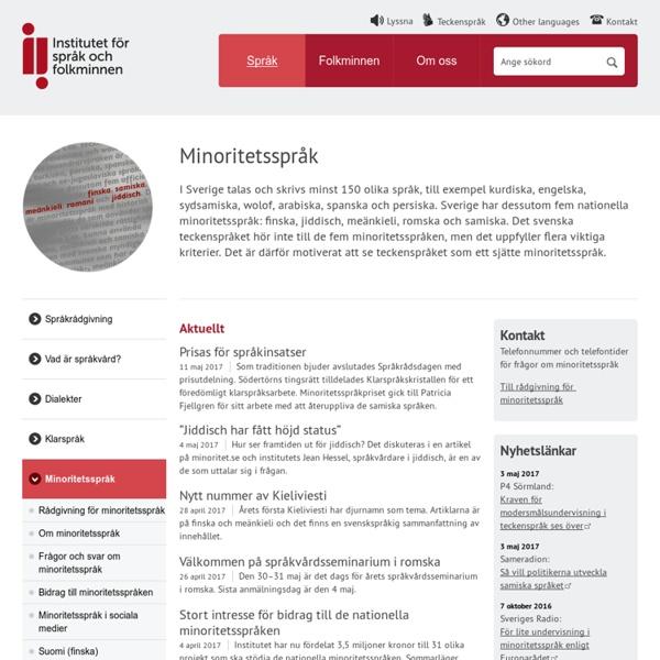 Minoritetsspråk - Institutet för språk och folkminnen