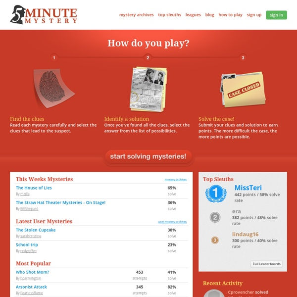 5 Minute Mystery: Short, online you-solve-it mysteries
