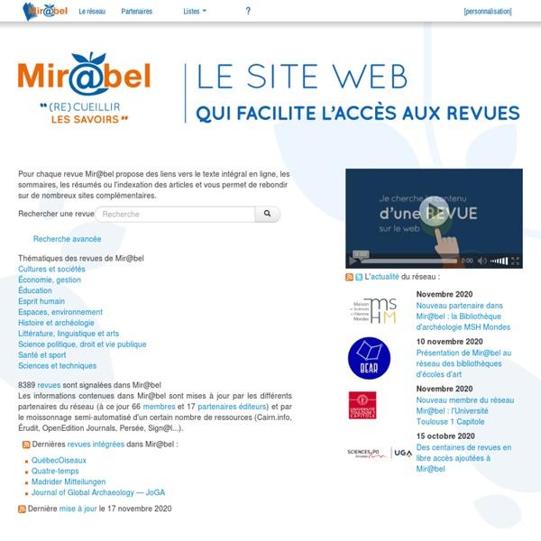 Mir@bel, le site qui facilite l'accès aux revues