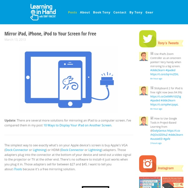 Mirror iPad, iPhone, iPod to Your Screen for Free