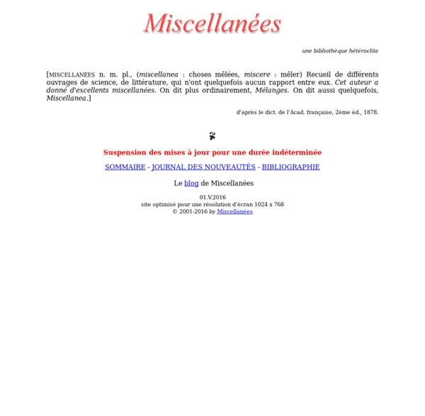 Miscellanees.com, une bibliothèque hétéroclite
