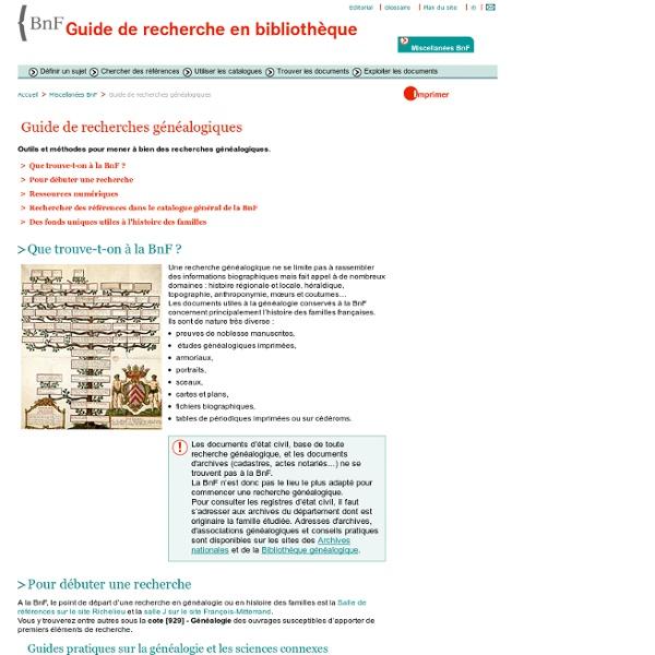 Annexes - Miscellanées BnF - Guide de recherches généalogiques